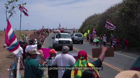 Video for Hawai'ian telescope protesters may block airports, harbours
