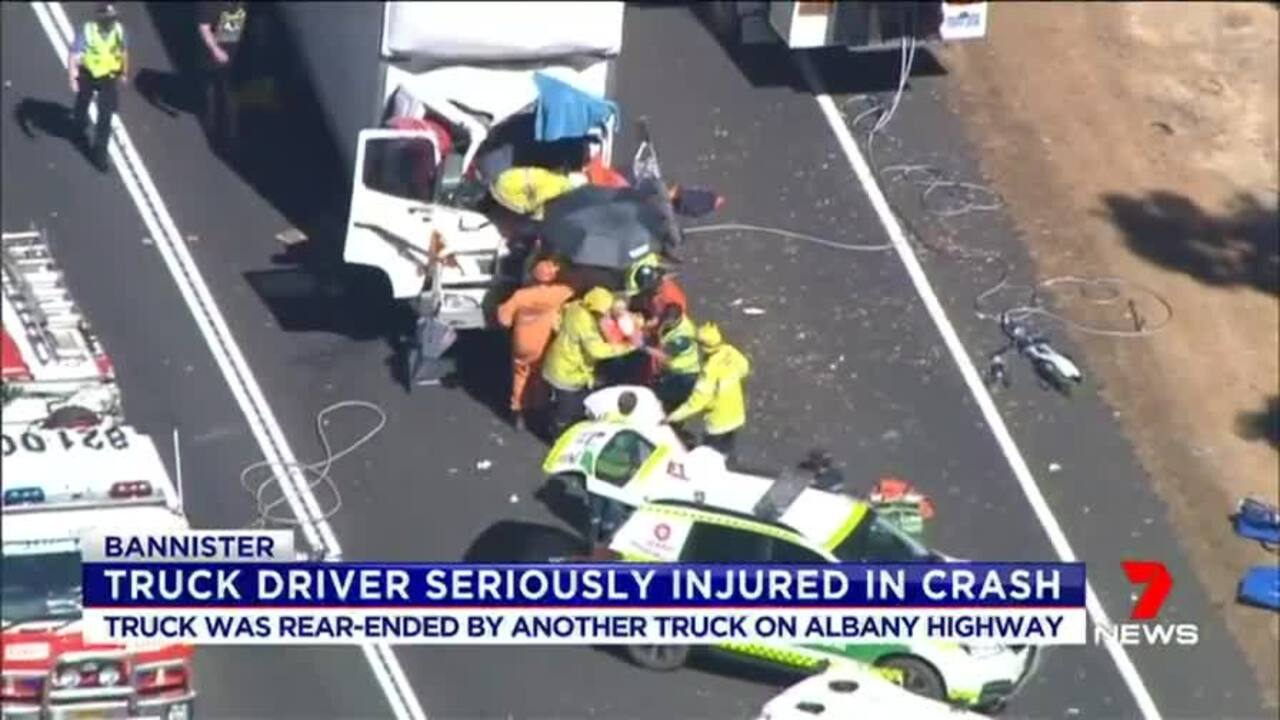 Watch: Truck driver seriously injured in crash | Video | The West