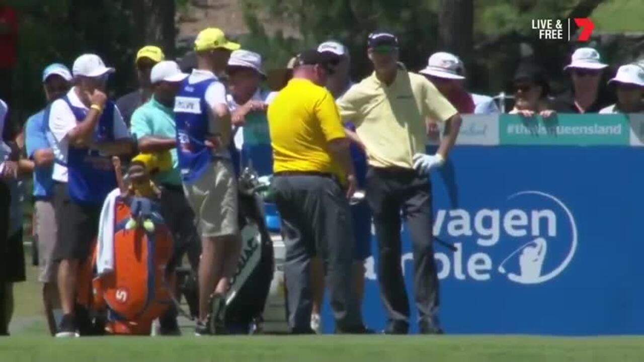 Aussie golfer John Senden's grip failed at the Australian PGA Championship, leading to an air swing and controversy over whether it should count as a shot.
