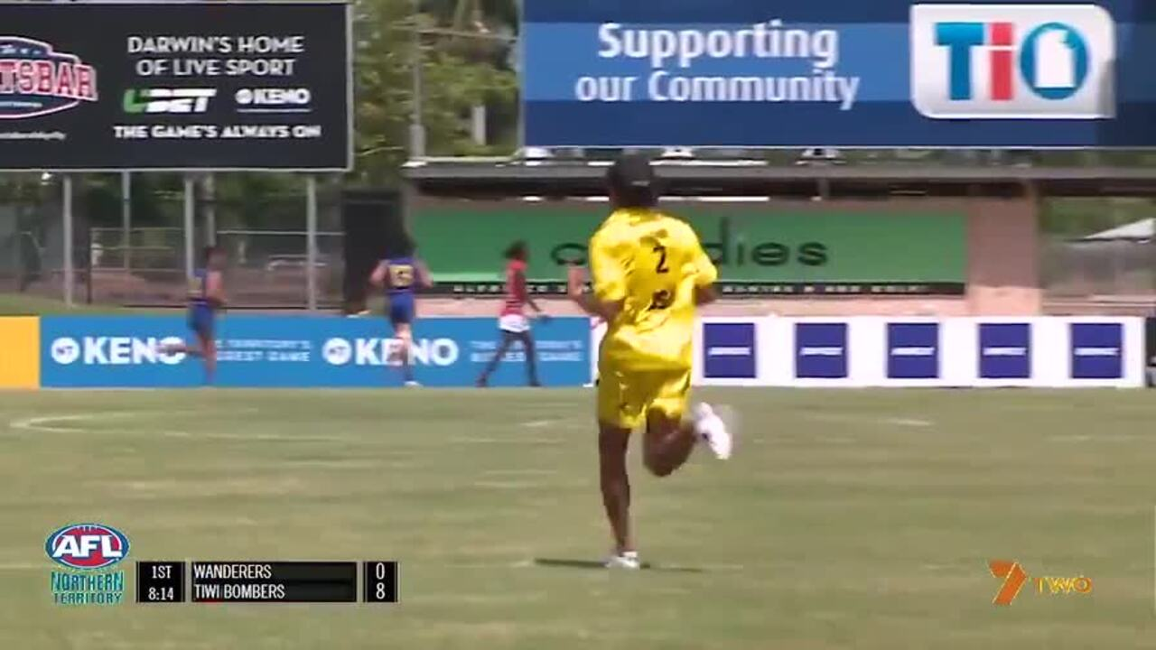 WATCH: The four-time Hawthorn premiership star gave the Tiwi Islands side a 'lift' in Austin Wonaeamirri's 150th game. Source: Twitter/@AFLNT