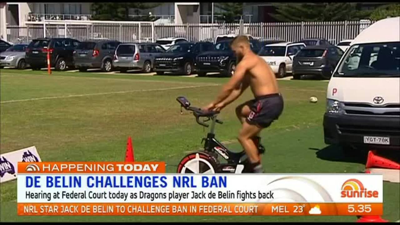 Dragons player, Jack de Belin, is due to appear in Federal Court today to fight his case.