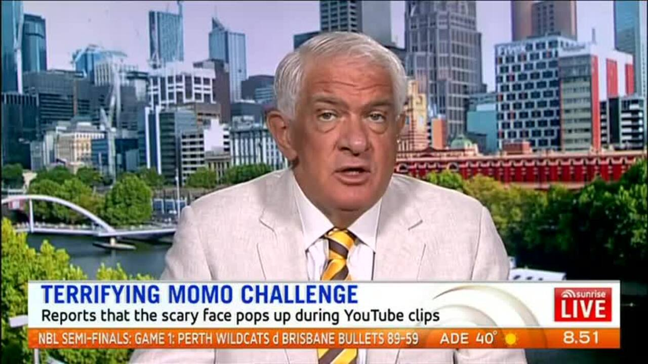 Sunrise Parenting Expert Dr Michael Carr-Gregg believes the Momo challenge has been talked up with Google confirming it has had no reports of videos showing or promoting Momo since 2018