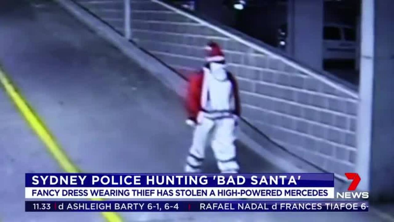 Police in Sydney are on the hunt for a thief dressed as Santa who stole a high-powered Mercedes