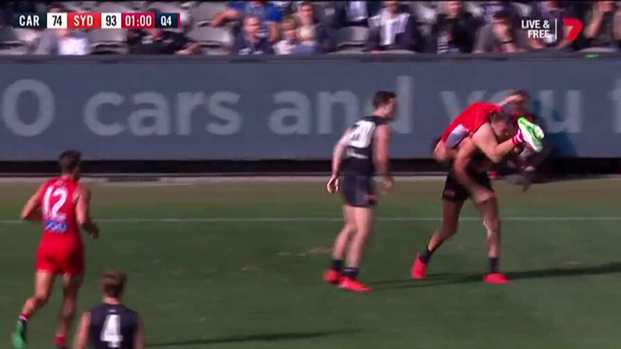 Commentators could only laugh when Patrick Cripps carried Papley upside down for a brief moment.