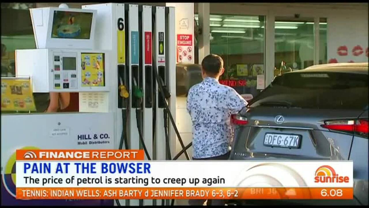 The price of petrol is starting to creep up again.
