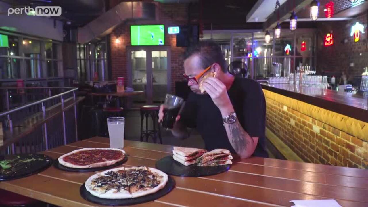 Despite being his third food challenge for the day, Cal had no problem taking down five pizzas at Northbridge Brewing Co.