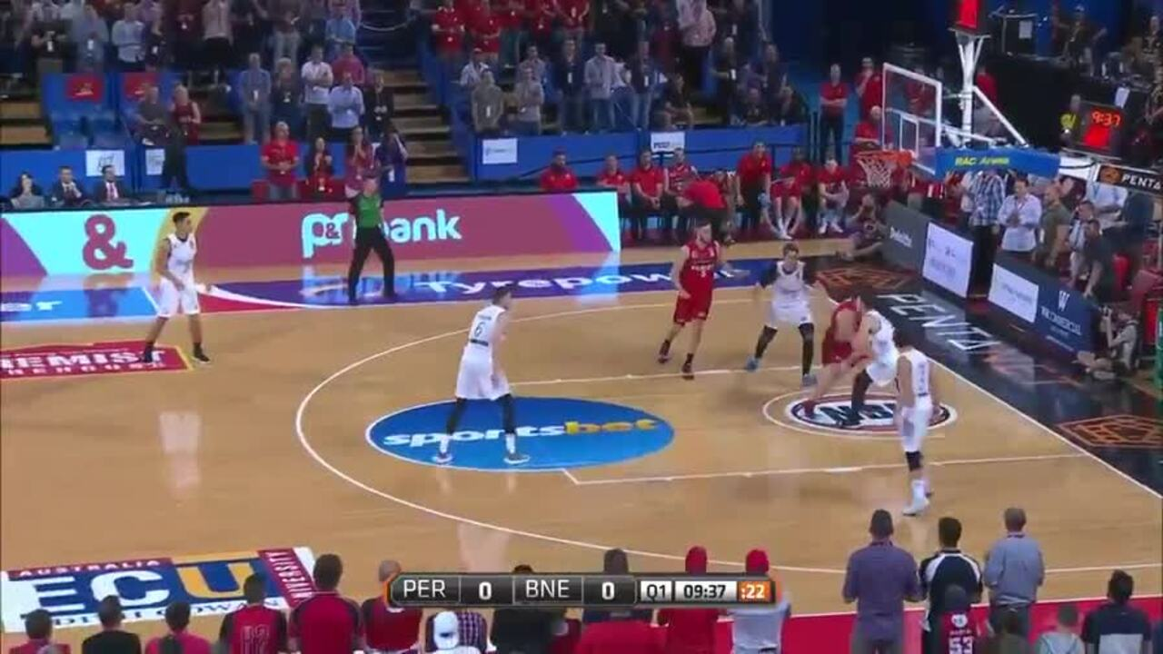 Greg Hire made the most of his rare start with this strong opening against Brisbane. Video: Twitter / NBL