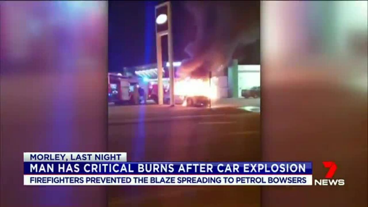 A man is fighting for life after his car exploded outside a petrol station in Morley.