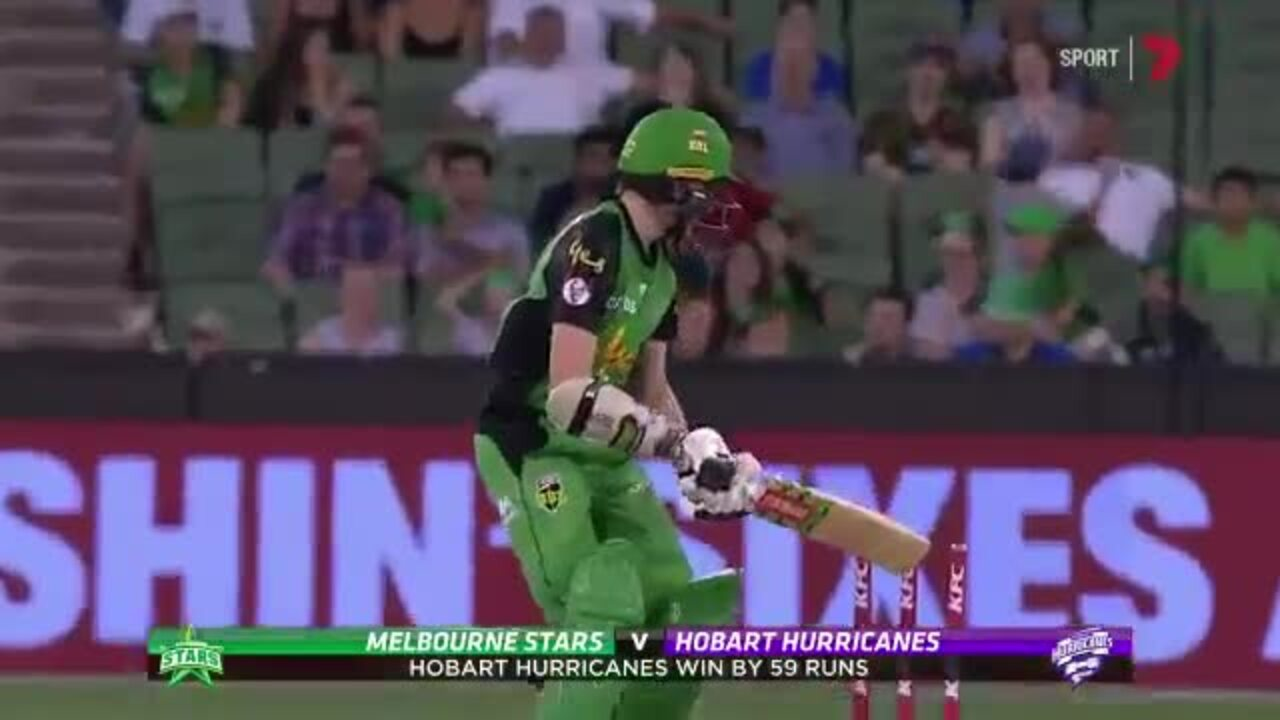 Melbourne Stars tail-ender Liam Bowe hit the stumps with his bat against the Hobart Hurricanes.
