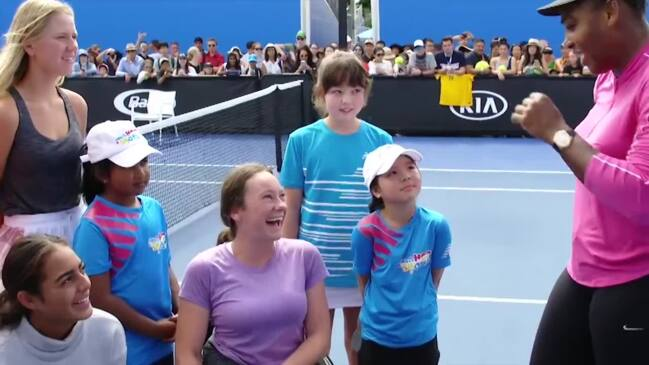 Serena meets a group of young Australian female tennis players