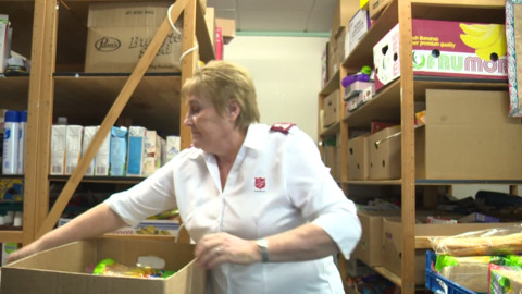 Video for Countdown, Sallies feeding those in need