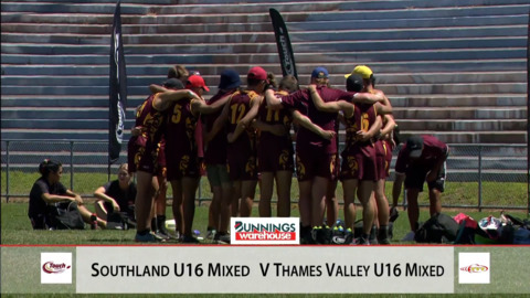 Video for 2019 Bunnings Junior National Touch: 18MX Pool A, Southland v Thames Valley