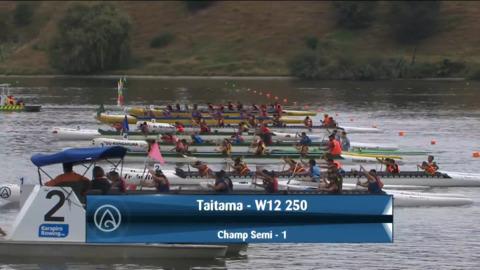 Video for 2021 Waka Ama Championships - Taitama - W12 250 Champ Semi 1/2