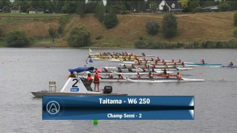 Video for 2021 Waka Ama Championships - Taitama - W6 250 Champ Semi 2/2