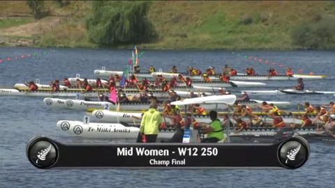 Video for 2019 Waka Ama Sprints - Mid Women- W12 250 Champ Final