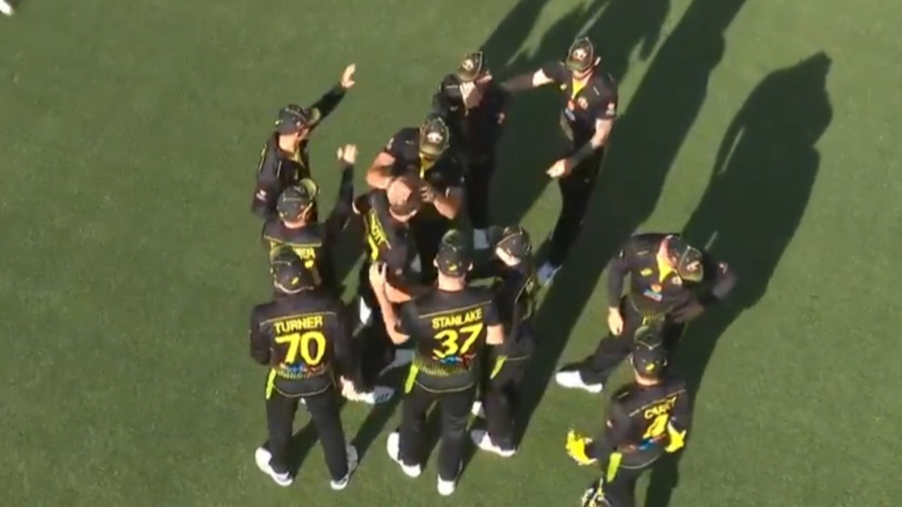 Abbott swarmed by teammates after wicket