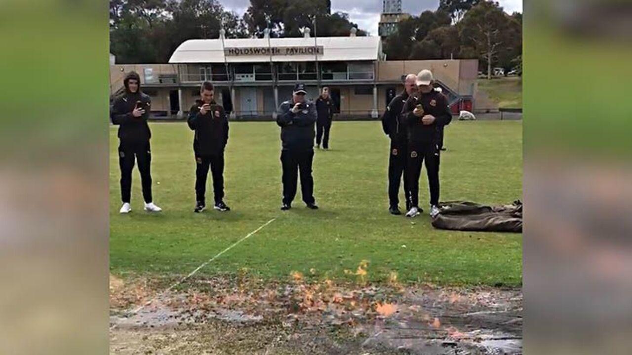 Cricket pitch set on fire