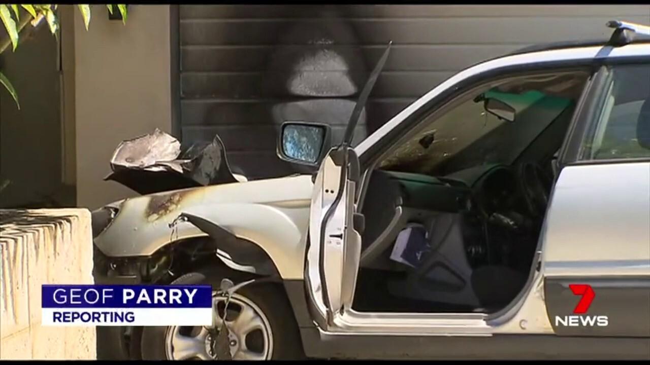 The 16-year-old crash a stolen car in a City Beach house.