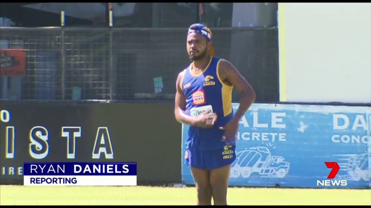 West Coast player Willie Rioli slims down in preparation for the next AFl season.