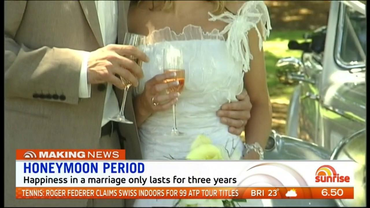 Research has found the honeymoon phase of marriage is the best with happiness levels dropping after three years. Sunrise discuss