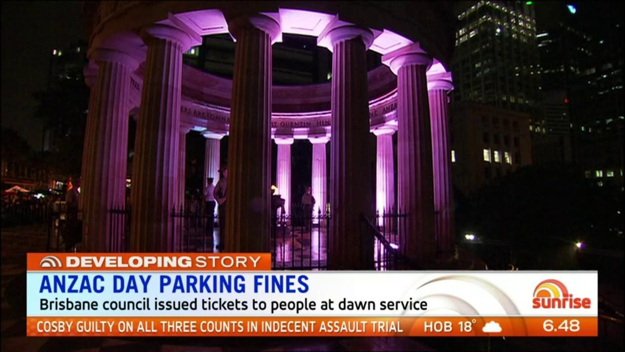 Perth City Council withdrew parking fines issued to hundreds of people who attended the dawn service but Brisbane City Council is standing by its decision