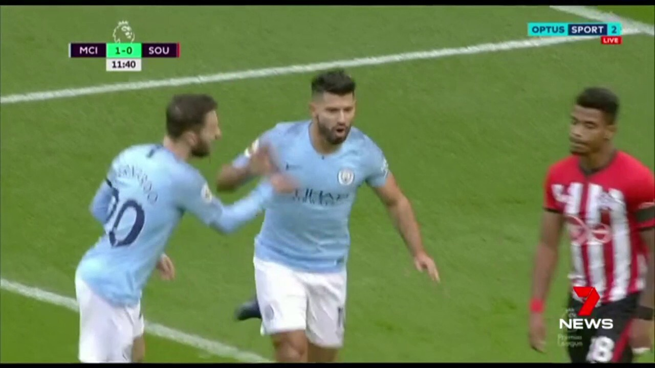 Manchester City striker Sergio Aguero becomes only the third player to score 150 Premier League goals for one club