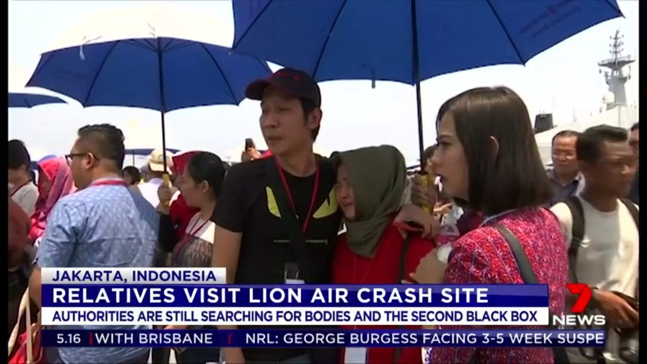 Distraught family members of those killed in the Lion Air disaster visited the crash site