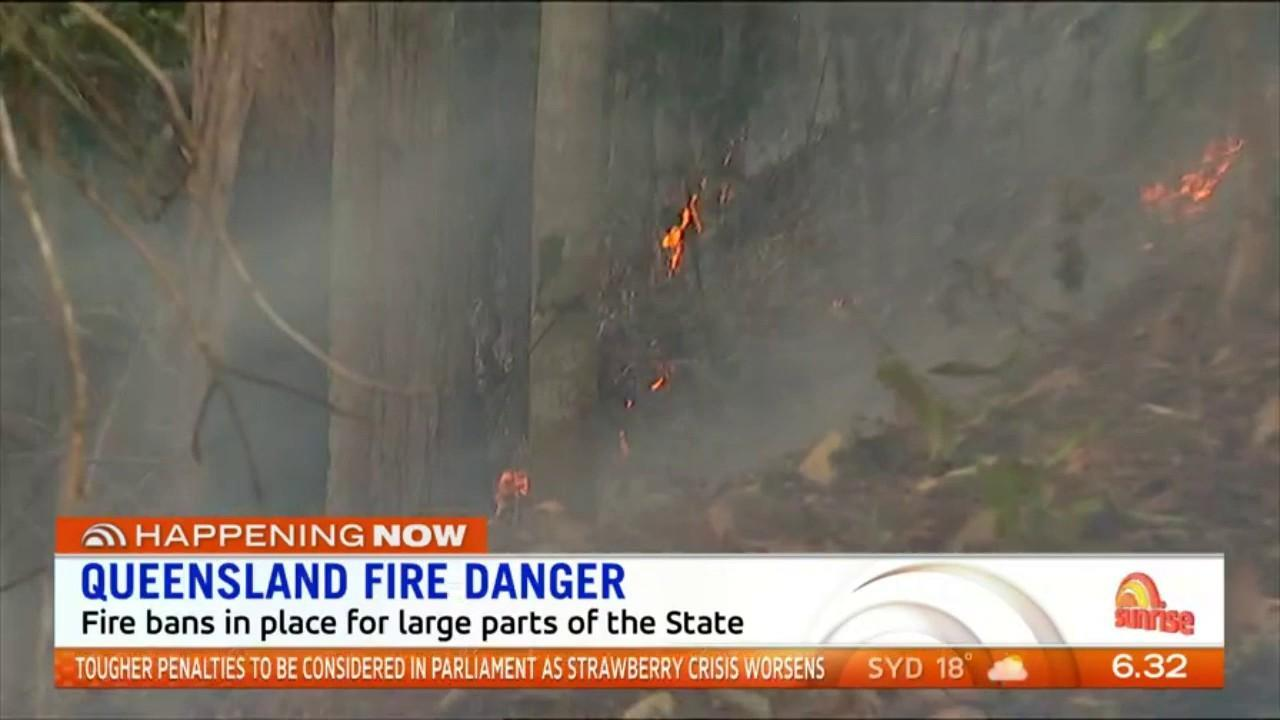 Warm temperatures and dangerous winds have forced a fire ban in Queensland.
