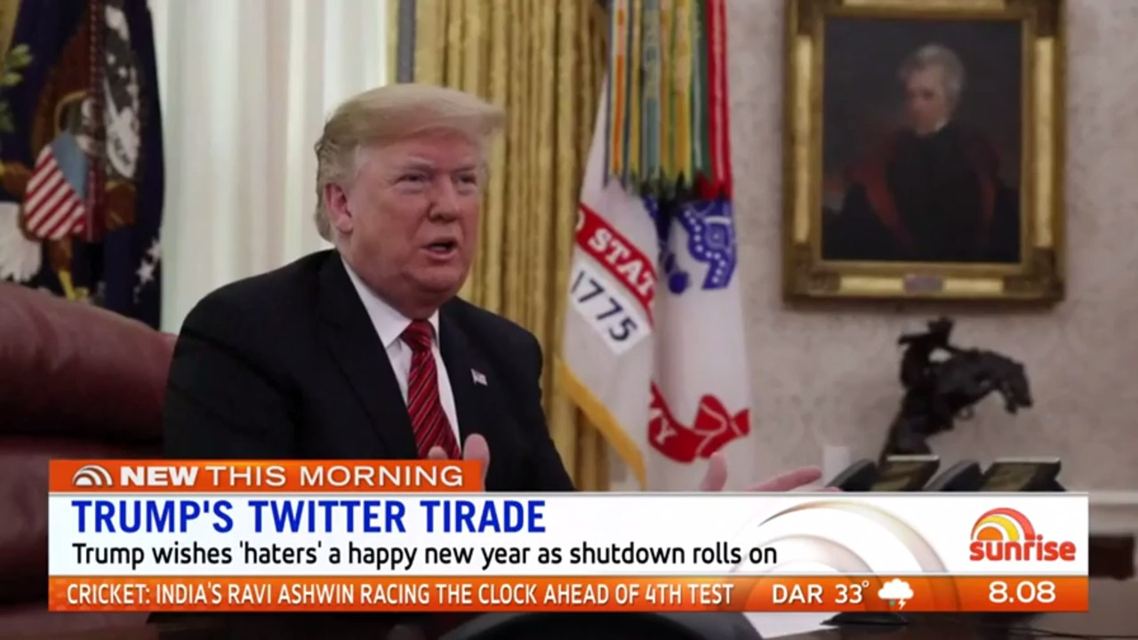 Donald Trump wished 'haters' a Happy New Year as the partial government shutdown continued