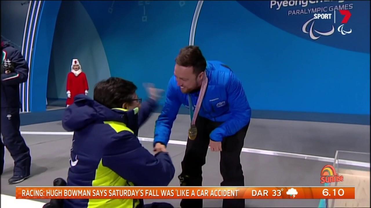 He won gold in the snowboard cross SB-UL class.