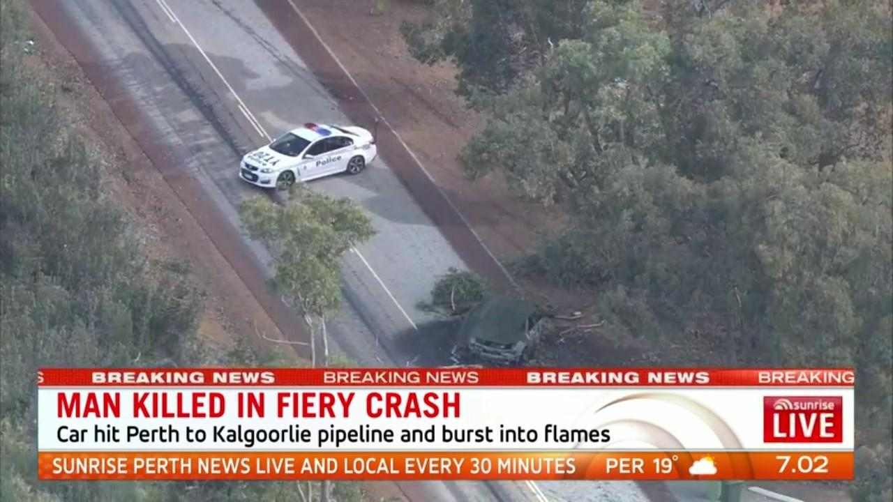 A man has died when his car hit the Perth to Kalgoorlie water pipeline and burst into flames at Kellerberrin in the Wheatbelt