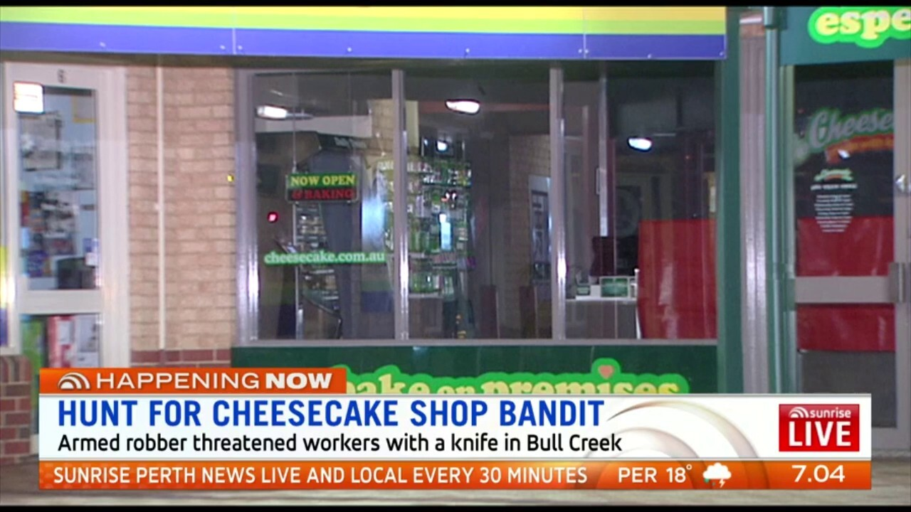 An armed robber threatened workers with a knife at a Cheesecake Shop in Bull Creek