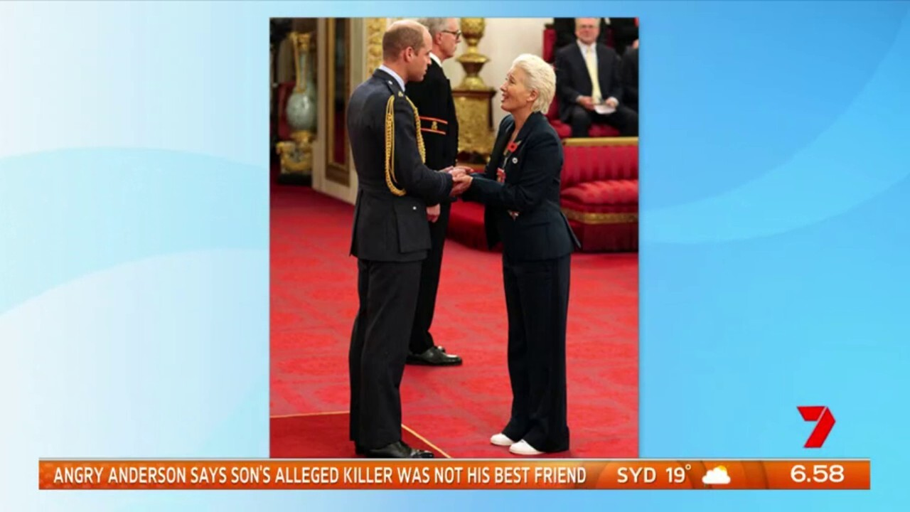 Actress Emma Thompson shared a cheeky exchange with Prince William during her dame hood ceremony at Buckingham Palace