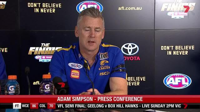 The West Coast coach and captain both fronted the media after the team's massive qualifying final win over Collingwood.