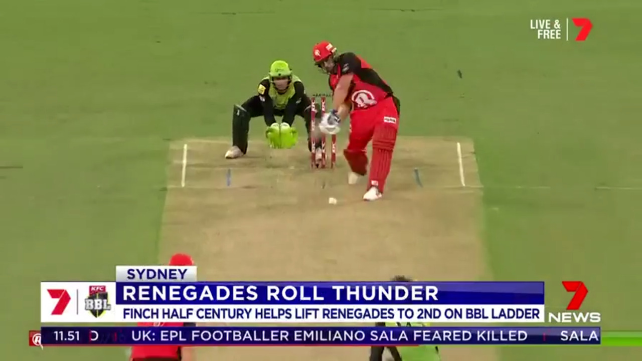 Aussie ODI captain Aaron Finch blasted out of his form slump to help the Renegades defeat the Thunder