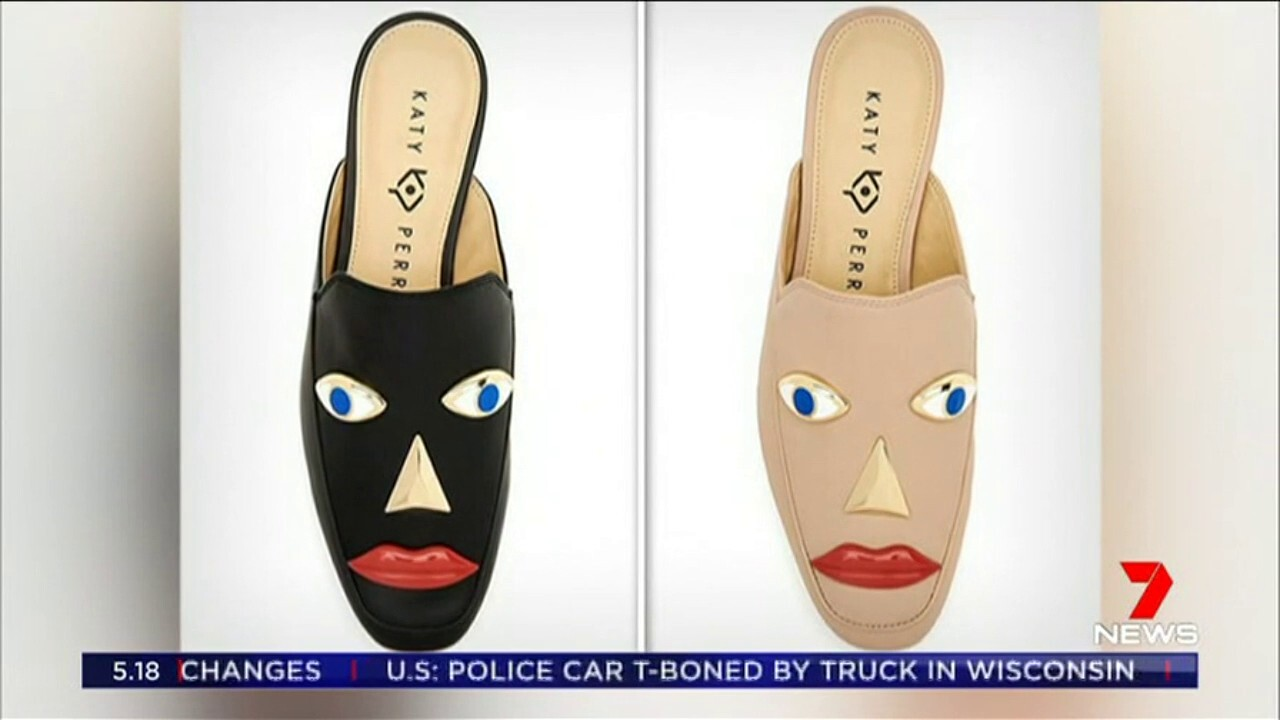 The pop singer has been criticised for her controversial shoe design featuring protruding eyes and red lips