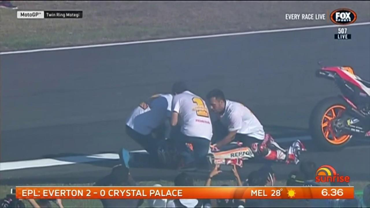 Marc Marquez dislocated his shoulder while celebrating his fifth Moto GP win in Japan