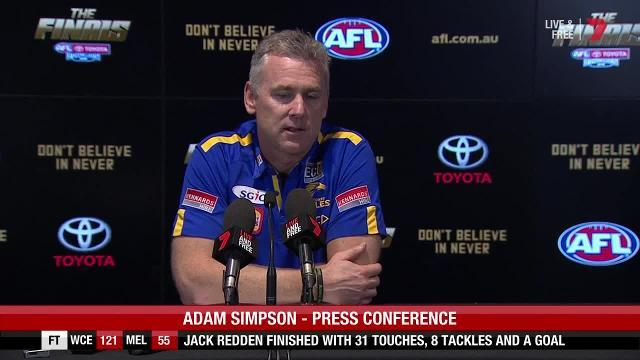 The West Coast Eagles coach spoke to the media after his side claimed a grand final berth by beating Melbourne at Optus Stadium.