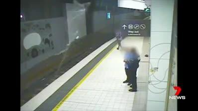 Queensland Rail released CCTV of shocking train station mishaps to serve as a warning for those indulging in alcohol on New Year's Eve.