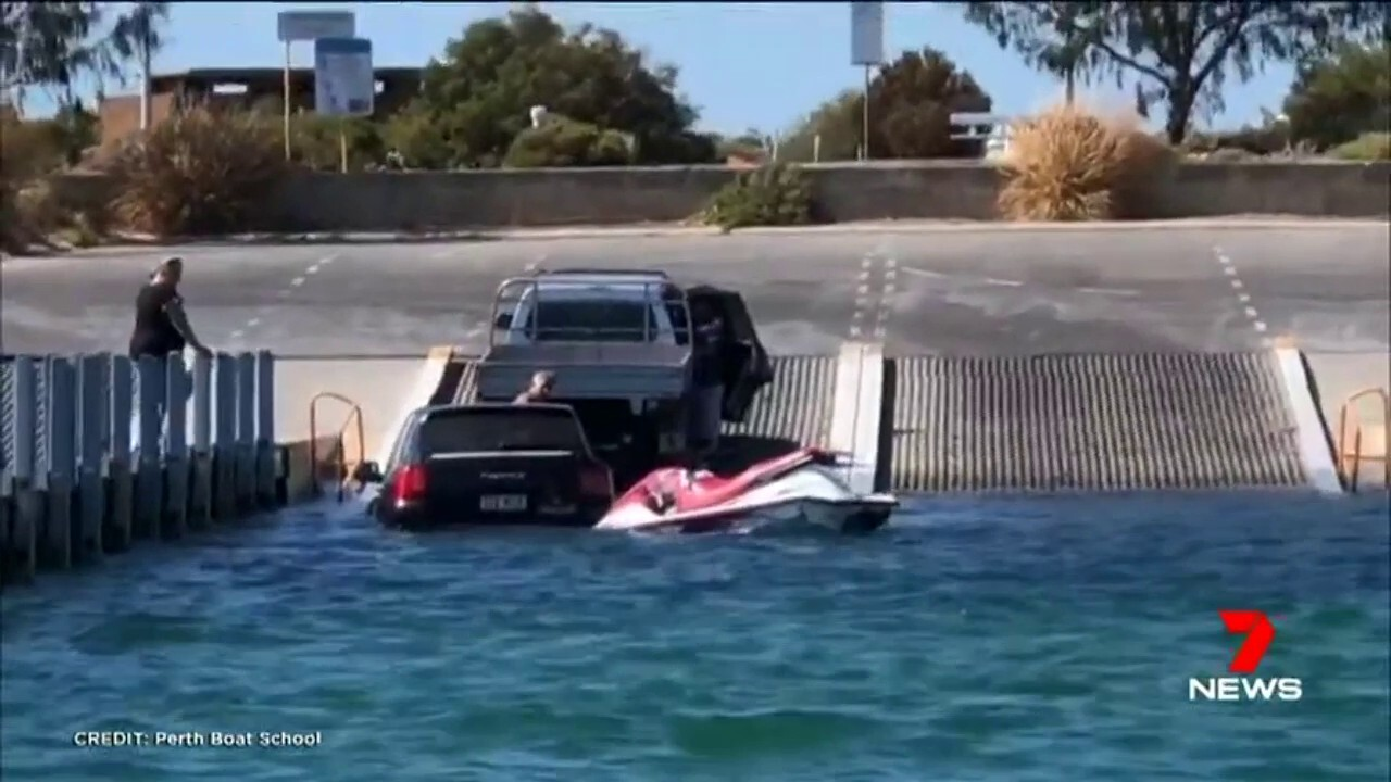 A Porsche ended up in the water at Woodman Point after the driver tried to launch a jetski off the boat ramp.