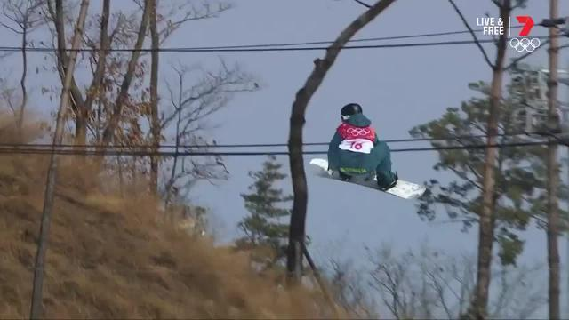 The Australian was in the top nine heading into the second round of the snowboard big air at the Winter Olympics.