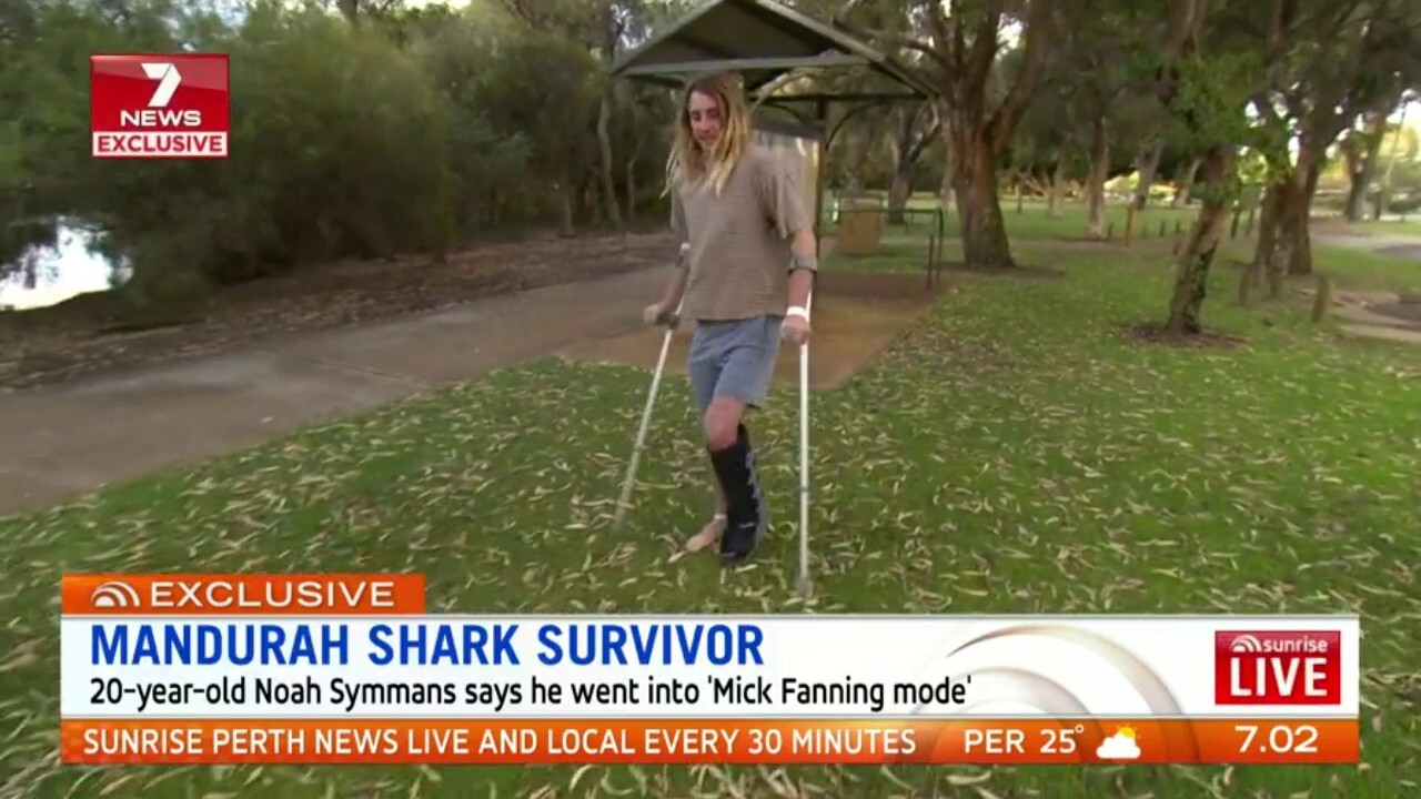 20-year-old Noah Symmans says he went into 'Mick Fanning mode.'