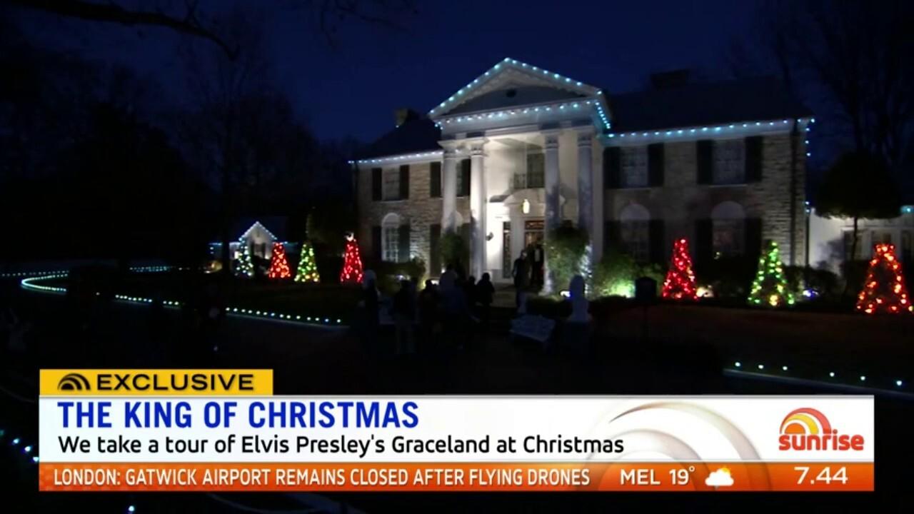 Take a look at Elvis Presley's Graceland at Christmas
