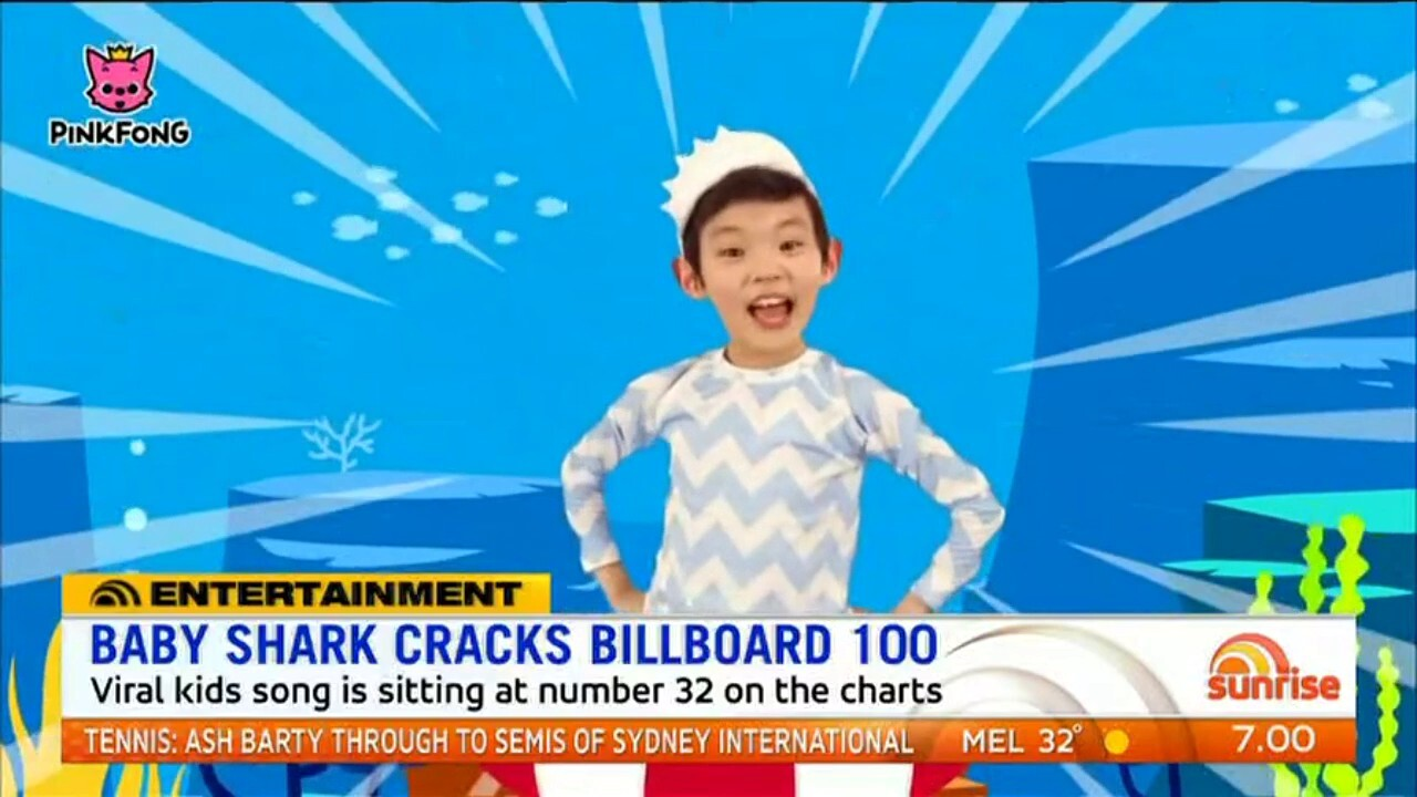 The viral kid's song is sitting at number 32 on the charts