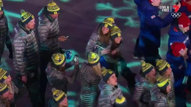 Australia's Olympians arrive for the closing ceremony at PyeongChang.