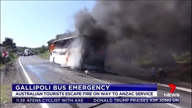 A bus carrying Australian and New Zealand travellers to the dawn service at Gallipoli burst into flames