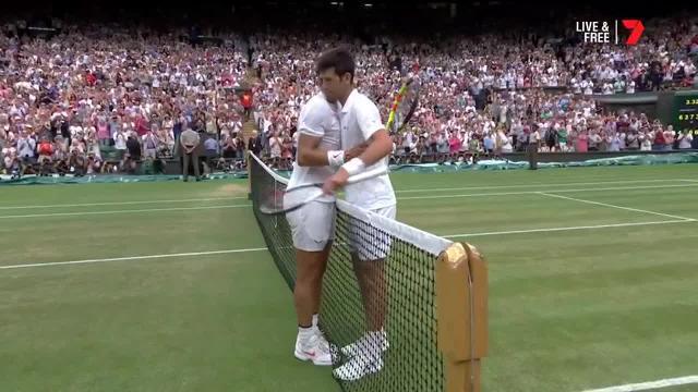 Novak Djokovic beats Rafael Nadal in marathon semi-final at Wimbledon.