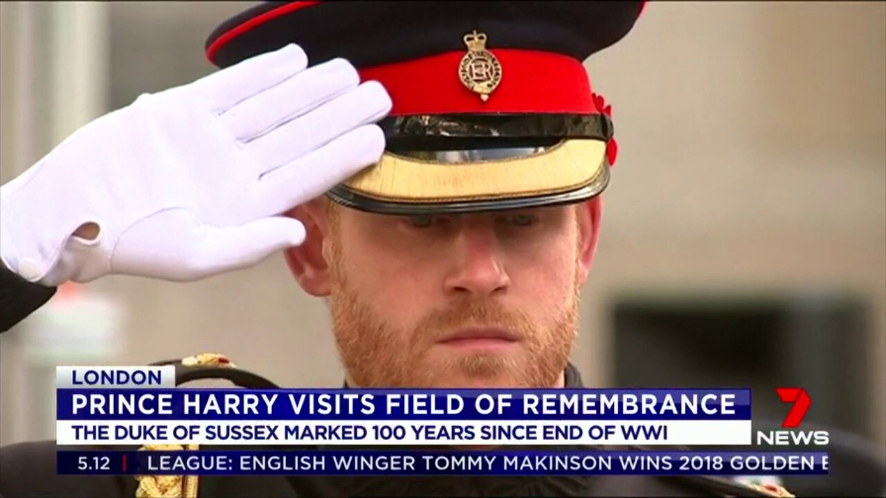 The Duke of Sussex marked 100 years since the end of WW1, planting a memorial cross at the Field of Remembrance