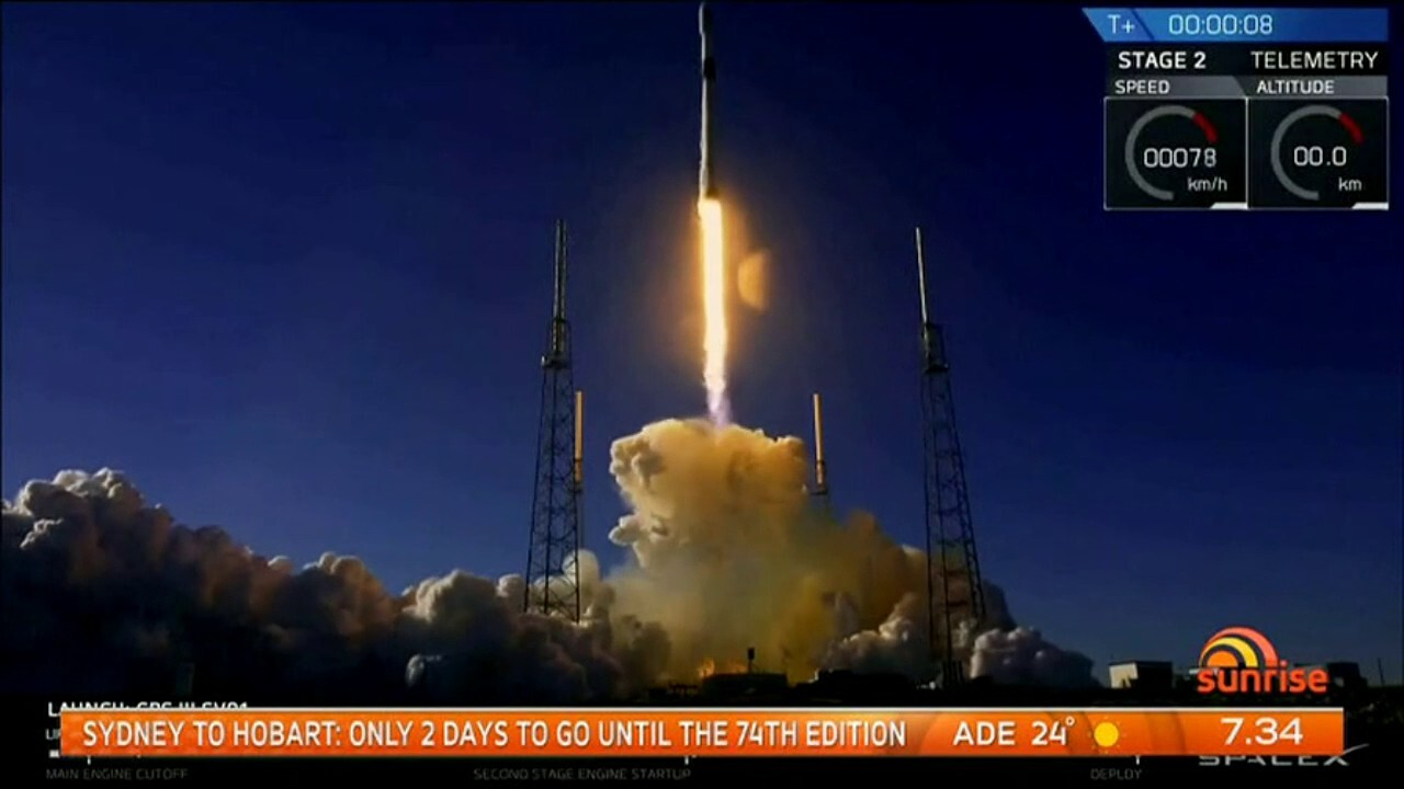 The Falcon 9 rocket has launched into space carrying a satellite for the US Air Force