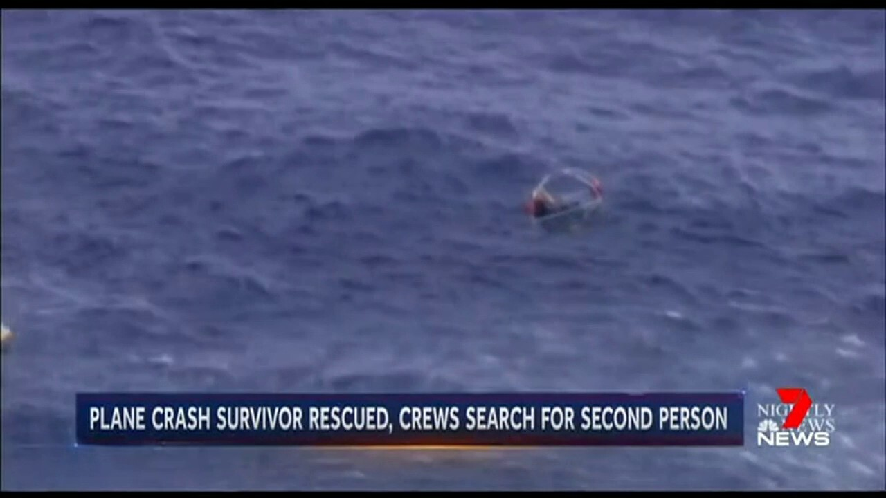 The cargo plane crashed into the ocean, with the second aircraft occupant found alive in a life raft.